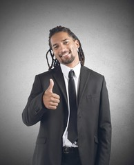 Businessman optimistic