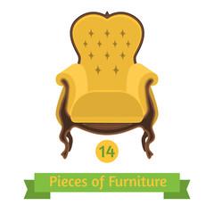 furniture, antique chair baroque, flat design