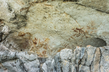 The ancient art of cave painting in mountain, Thailand