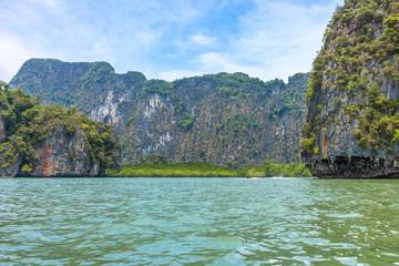 Phang Nga bay and mountain view with blue sky