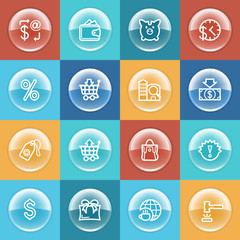 Commerce icons with buttons on color background.