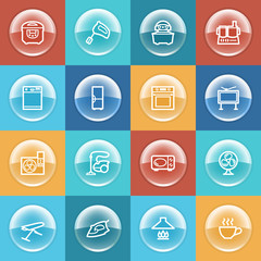 Home appliances icons with buttons on color background.