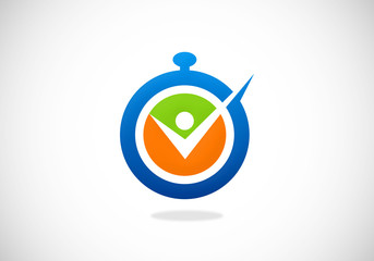 active people sport time vector logo