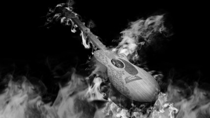 Acoustic Classical Guitar in Smoke on black