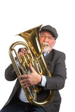 A man wearing a hat and blazer playing an Euphonium, Tenor Tuba, isolated on a white background - 79128046