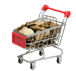 Cart with coins on a white background