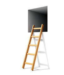 Ladder and window in wall
