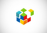 box puzzle geometry technology vector logo