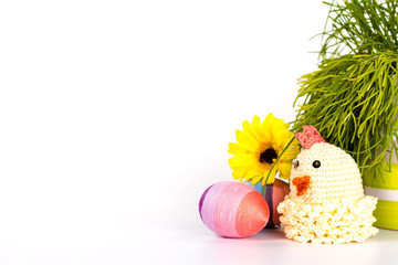 striped Easter Egg and chicken Isolated