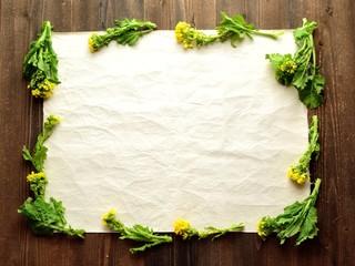 菜の花と和紙のフレーム
