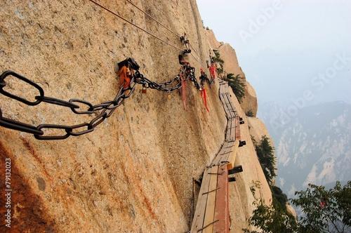Dangerous walkway at top of holy Mount Hua Shan, China - 79132023