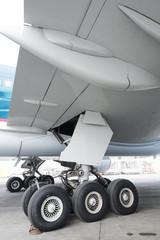 Close up of aircraft wheel at the hangar