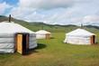 Leinwandbild Motiv Yurt camp in Mongolian Steppe