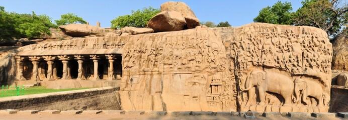 Ancient basreliefs in Mamallapuram, Tamil Nadu, India