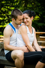 Couple together after jogging