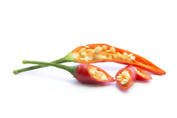 Blurring piece of red chili pepper ingredient