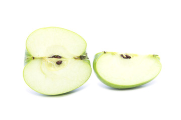 Fresh green apple half and quarter size sliced