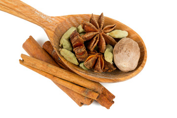 nutmeg, cinnamon, cardamom and star anise isolated on white