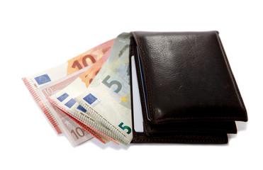 portefeuille et billets d'euro