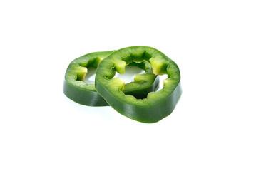 sliced green bell pepper isolated on white background