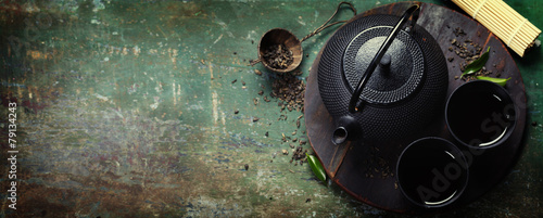 Tuinposter Koffie Black iron asian tea set