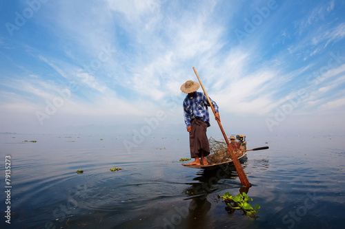 Fishermen in Inle lakes sunset, Myanmar. - 79135273