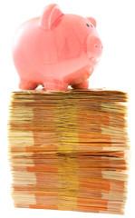 tirelire cochon sur liasses de billets empilés