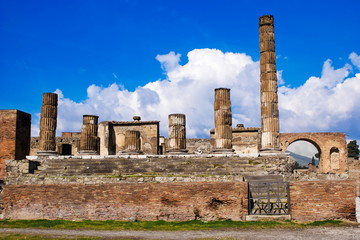 The temple of Jupiter, archeological excavations of Pompeii