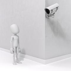 3d man and security camera