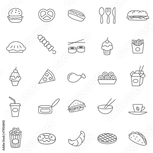 Fast Icons Download Fast Food Line Icons Set