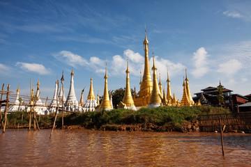 Shwe Inn Thein pagoda at Indein village, Inle Lake