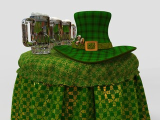 Leprechaun's Hat And Beer On The Table