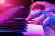 hands of musician playing keyboard - 79138448
