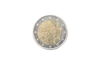 Commemorative 2 euro coin of Finland minted in 2010 over white
