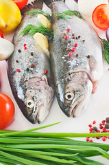 Two fresh rainbow trout with herbs, vegetables and lemon.