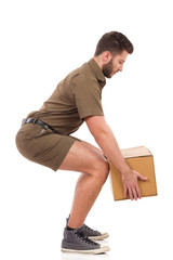 Courier picking up a package.