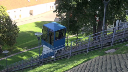 funicular railway on Gedminas castle hill in Vilnius, Lithuania