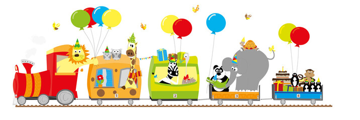 Birthday party train with animals/ vectors
