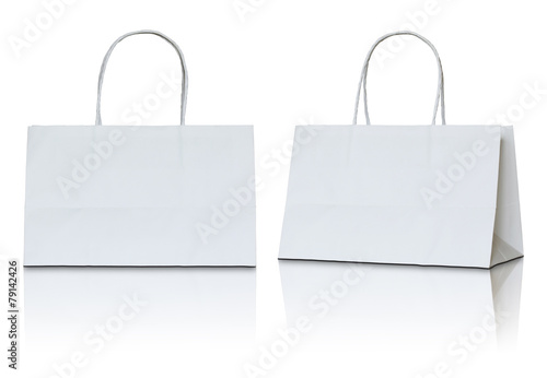 white paper bag on white background - 79142426