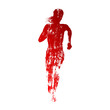 Abstract red running woman silhouette - 79142868