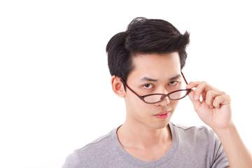 confident genius nerd man looking at you, hand holding eyeglasse