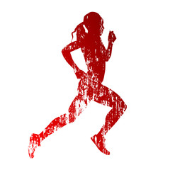 Abstract grungy running woman silhouette