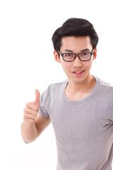 happy, smiling, successful genius nerd man giving thumb up to yo
