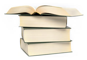 Stack of four books on a white background