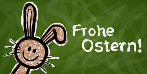 "Grüne Kreidetafel mit lustigem Osterhasen ""Frohe Ostern!"""