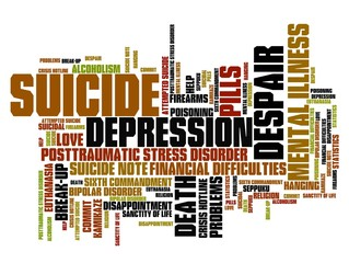 Suicide and depression word cloud concept
