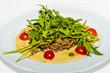 Stewed  meat,  arugula and vegetables.