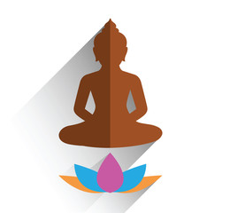 budha sitting on lotus flat design