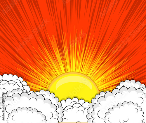 Retro Clouds Sunburst Background - 79145001