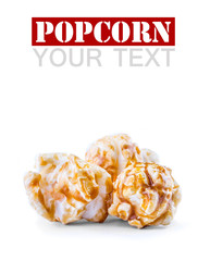 A pile of caramel popcorn on a white background.